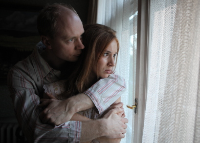 Jan BudaÅ™ (as Radim Bureš) and Tatiana Pauhofová (as Dagmar Burešová) in BURNING BUSH, a film by Agnieszka Holland.
