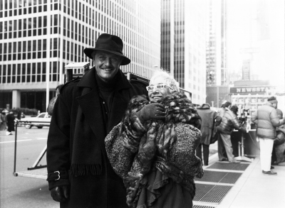 Lina Wertmüller with star Rutger Hauer on the New York City set of UP TO DATE.