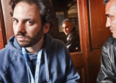 Co-directors Guy Davidi and Emad Burnat.