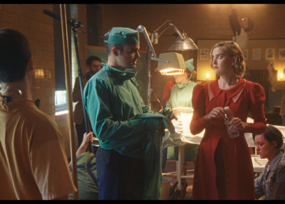 Stephen Plunkett and Jess Weixler in a scene from <i>Chained for Life</i>, courtesy Kino Lorber