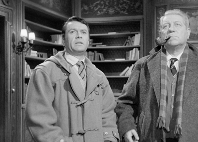 Robert Hirsch and Jean Gabin in MAIGRET AND THE ST. FIACRE CASE.
