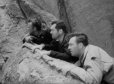 From left: William Talman, Frank Lovejoy and Edmund O'Brien in Ida Lupino's THE HITCH-HIKER.