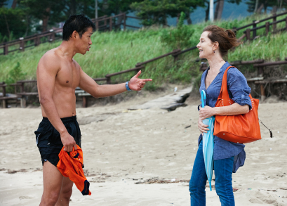 Yu Junsang and Isabelle Huppert in Hong Sang-soo's IN ANOTHER COUNTRY