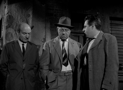 Olivier Hussenot, Jean Gabin, and Jacques Hilling in MAIGRET SETS A TRAP.