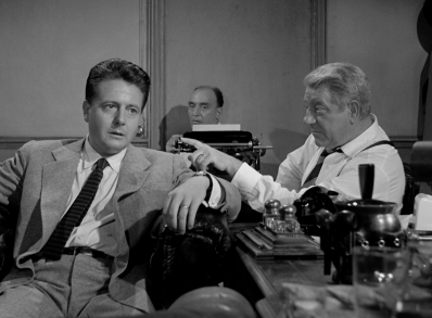 Jean Desailly, Andre Valmy, and Jean Gabin in MAIGRET SETS A TRAP.