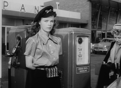 Sally (Sally Forrest) begins a new job in Ida Lupino's NOT WANTED.