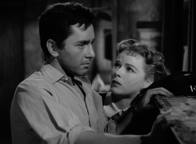 Sally (Sally Forrest) pleads with Steve (Leo Penn) in Ida Lupino's NOT WANTED.