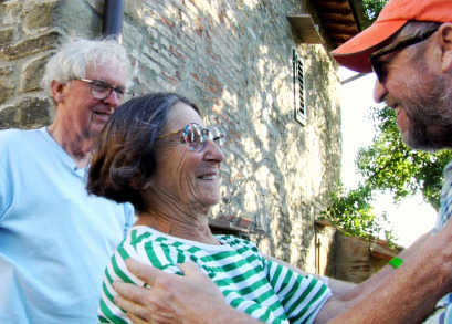 George, Betty and Charlie Woodman at the Woodman studio in Antella, Italy.