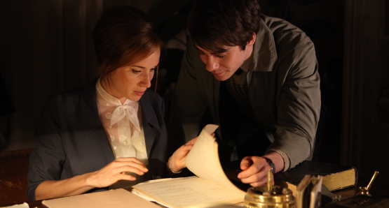 Tatiana Pauhofová (as Dagmar Burešová) and Patrik DÄ›rge (as Pavel Janda) in BURNING BUSH, a film by Agnieszka Holland.