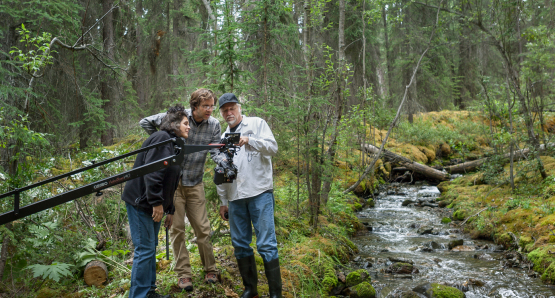 Jennifer Baichwal, Nicholas de Pencier and Edward Burtynsky working in Northern British Columbia, Canada, 2012. Photo courtesy of Anthropocene Films Inc. © 2018