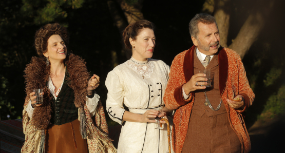 Juliette Binoche, Valeria Bruni Tedeschi, and Fabrice Luchini in <i>Slack Bay</i>.