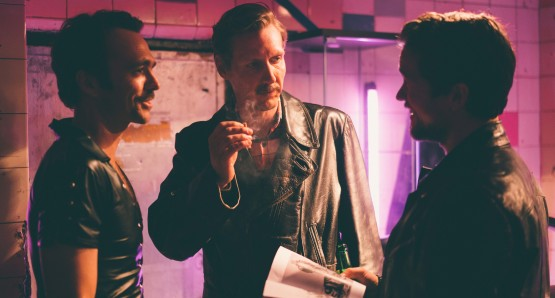 Seumas Sargent, Pekka Strang, and Jakob Oftebro in a scene from <i>Tom of Finland</i>. Photo by Josef Persson, courtesy Kino Lorber.