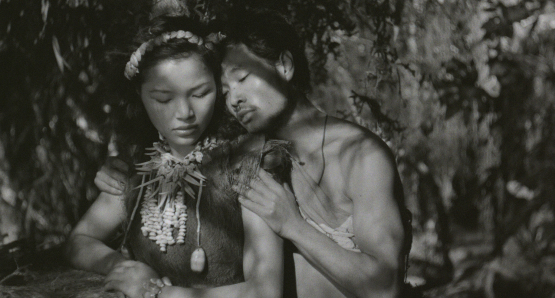 "Keiko, the ""Queen Bee"" of Anatahan (Akemi Negishi) with one of her numerous suitors in Josef von Sternberg's ANATAHAN"
