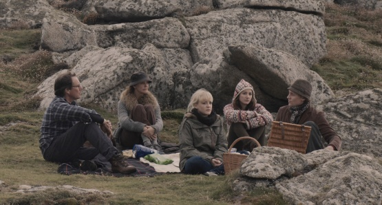 Christopher Baker as Christopher, Kate Fahy as Patricia, Amy Lloyd as Rose, Lydia Leonard as Cynthia, and Tom Hiddleston as Edward in ARCHIPELAGO, a film by Joanna Hogg.