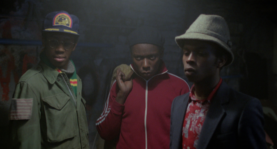 Scientist (Brian Bovell), Beefy (Trevor Laird), and Lover (Victor Romero Evans) are members of the Ital Lion Sound System in Franco Rosso's BABYLON.