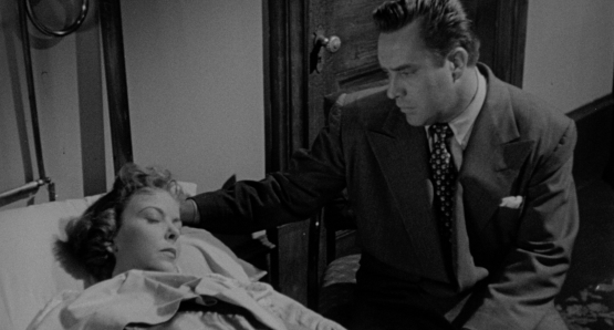 Harry (Edmund O'Brien) contemplates telling Phyllis (Ida Lupino) the truth about himself in Lupino's THE BIGAMIST.