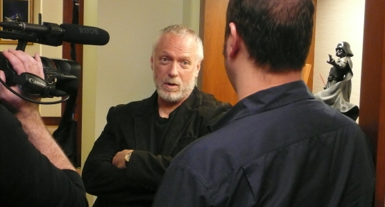 Drew Struzan talks to Erik Sharkey at Lucasfilm during the filming of DREW: THE MAN BEHIND THE POSTER.