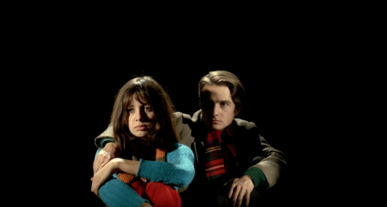 Juliet Berto and Jean-Pierre Leaud in LE GAI SAVOIR.