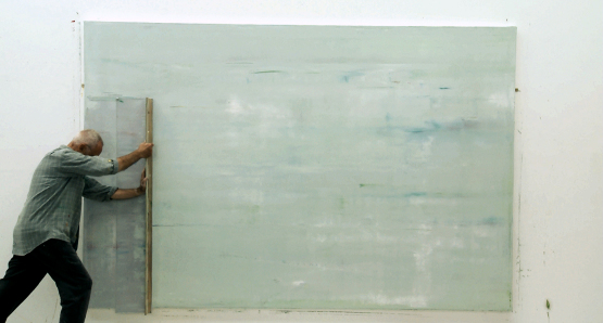 Gerhard Richter working on