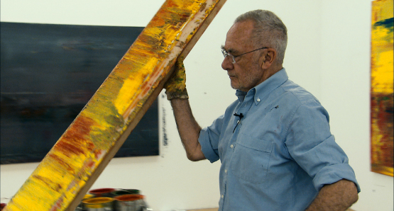 Gerhard Richter in his studio