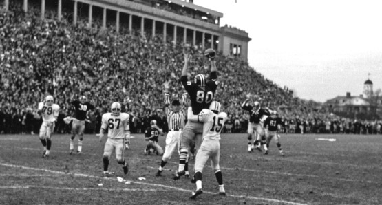 Harvard's Pete Varney catches the
