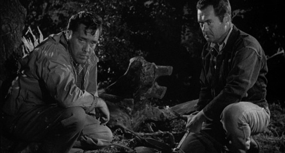 Roy (Edmund O'Brien) and Gilbert (Frank Lovejoy) are pushed to their limits by the relentless Emmett (William Talman) in Ida Lupino's THE HITCH-HIKER.