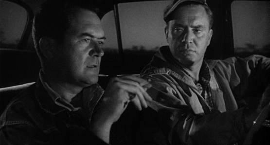 Frank Lovejoy and Edmund O'Brien star as two good friends whose fishing expedition goes awry when they encounter THE HITCH-HIKER, directed by Ida Lupino.