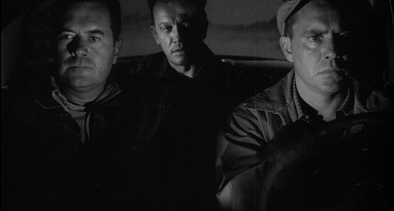 Good pals Frank Lovejoy and Edmund O'Brien have their fishing expedition interrupted by trigger-happy William Talman in Ida Lupino's THE HITCH-HIKER.