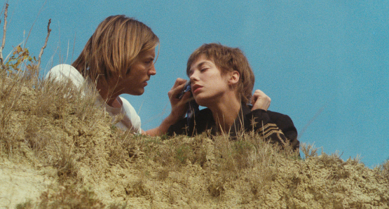 Jane Birkin as Johnny and Joe Dallesandro as Krassky in Serge Gainsbourg's JE T'AIME MOI NON PLUS.