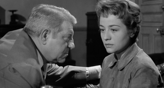 Jean Gabin and Annie Girardot in MAIGRET SETS A TRAP.