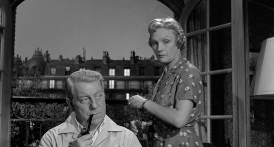 Jean Gabin and Jeanne Boitel in MAIGRET SETS A TRAP.
