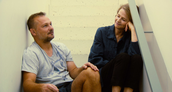 Jurgen Teller and Charlotte Rampling in a scene from Angelina Maccarone's documentary CHARLOTTE RAMPLING: THE LOOK.