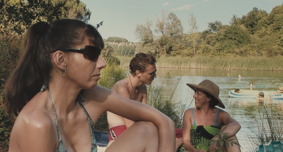 Kathryn Worth as Anna, Tom Hiddleston as Oakley and Mary Roscoe as Verena in UNRELATED, a film by Joanna Hogg.